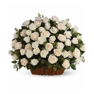 Memoria - White Rose Flower Basket